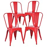 Poly and Bark Trattoria Kitchen and Dining Metal Side Chair in Red (Set of 4)