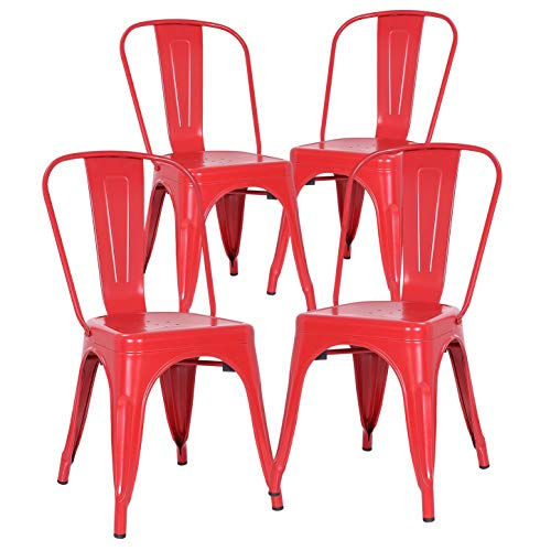 (Poly and Bark Trattoria Side Chair in Red (Set of)