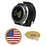 GolfBuddy WTX Golf GPS/Rangefinder Smart Watch (40k+ Preloaded Worldwide Courses) Bundle with Magnetic Hat Clip Ball Marker (USA Flag)