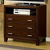 Furniture Of America CM7068TV Contemporary Style Brown Cherry Tone Media Chest