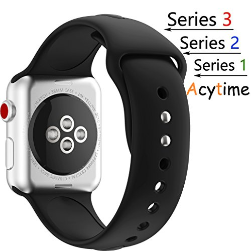 Silicone 38mm Watchband for iWatch Apple (Black) - 8