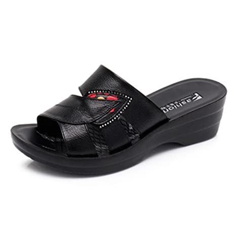 0285ef94b Amazon.com   Vic Gray women slide sandal - Summer Slip On Open Toe Wedges  Platform Ladies Beach Shoes   Sports   Outdoors