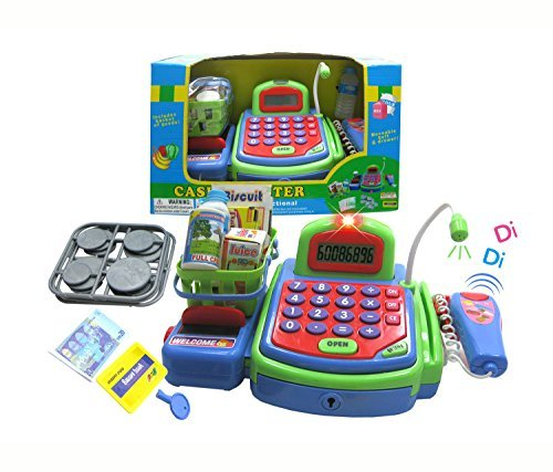 Mozlly Green Electronic Cash Register With Groceries Pretend Play Toy Set - Register Theme - Item #101336
