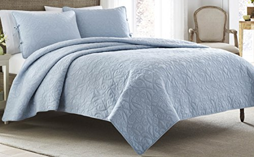 Laura Ashley Felicity Quilt Set, Breeze Blue, Twin - Country Bedding Sets Twin