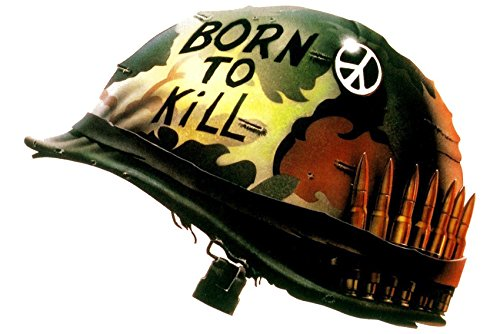 Erthstore 11x17 inch Wall Poster of Full Metal Jacket Classic Born to Kill Helmet Peace Sign