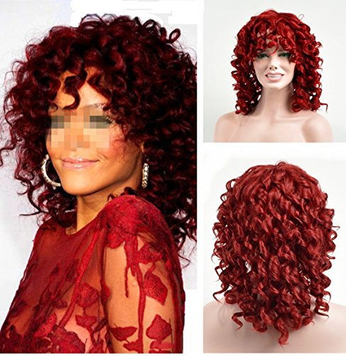 : YOURWIGS Fluffy Kinky Short Curly Hair Wigs for Black Women African American Wigs with Wig Cap (Red) Z014R