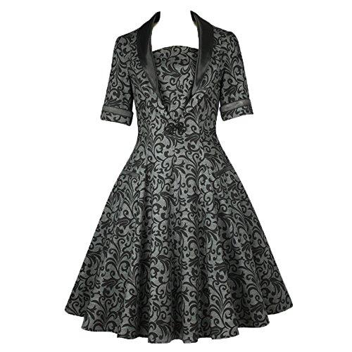 Gothic 60er Dress Vintage Grau Look Star Ornamente Chic Kleid Petticoat Zum 50er Schwarz Sfvqn