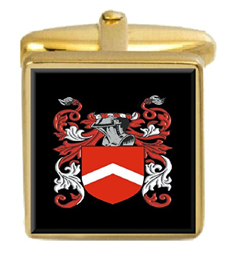 Select Gifts Melton England Family Crest Surname Coat Of Arms Gold Cufflinks Engraved Box - Melton Coat Of Arms