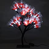 MHOLFB 15.75 Inch 40 LED Cherry Blossom Tree Branches Light Optical Fiber Desk Bonsai Table lamp Night Light Decoration for Kid's Bedside Home Festival Party Wedding Christmas (White)