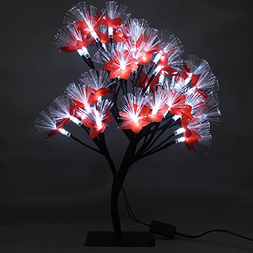 MHOLFB 15.75 Inch 40 LED Cherry Blossom Tree Branches Light Optical Fiber Desk Bonsai Table lamp Night Light Decoration for Kid's Bedside Home Festival Party Wedding Christmas (White) by MHOLFB