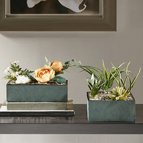 Madison Park Dacre Weather Resistant Aluminum Planter - Table Top Flower Pot, Gardening Display Arrangement Modern Rustic Living Room Interior Home Décor Accent Vase, Rectangular, Green/Gold