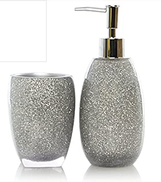 Glitter Silver Piece Bathroom Accessory Set Amazon Co Uk