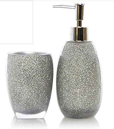 Colore: Argento con Glitter-set accessori per il bagno, confezione ...