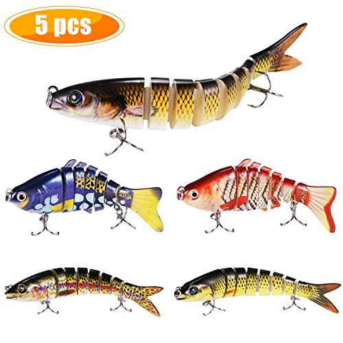 (Yagool Fishing Lures for Trout, Fishing Lure for Bass, Fishing Baits and Lures for Freshwater Saltwater Slow Sinking 5-Pack 2 Sizes)