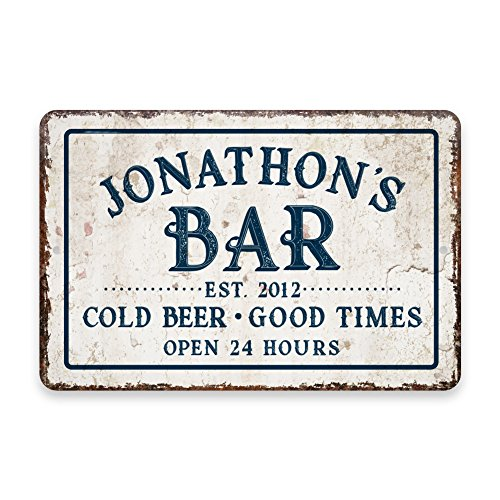 (Personalized Vintage Distressed Look Bar Cold Beer Good Times Metal Room Sign)