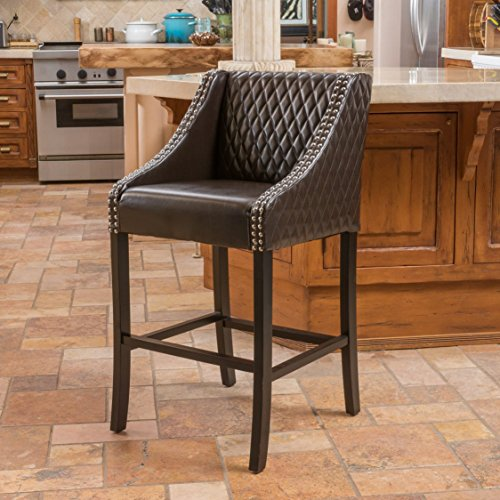 Elegant Modern Quilted Brown Leather Bar Stool with Chrome & Wood Base with Silver Metal Nailhead Trim Includes ModHaus Living (TM) Pen