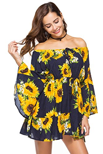 FLY HAWK Women's Off Shoulder Strapless Trumpet Sleeve Summer Casual Vacation Boho Mini Dress Sunflower Size XL (Strapless Trumpet)
