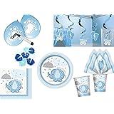 44 tlg. Partyset für Babyparty Geburt Baby Boy Junge blau - Deko und Geschirr Elefant
