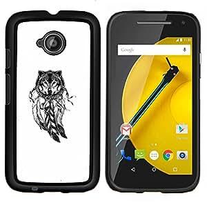 LECELL--Funda protectora / Cubierta / Piel For Motorola Moto E2 E2nd Gen -- Lobo Indian Dream Catcher nativa blanca --