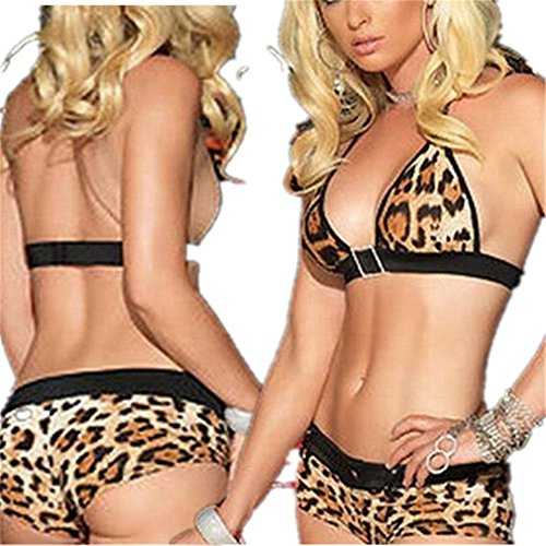 Women's Sexy Babydoll Leopard Print Bikini Suspenders Backless (Leopard Babydoll And Thong)