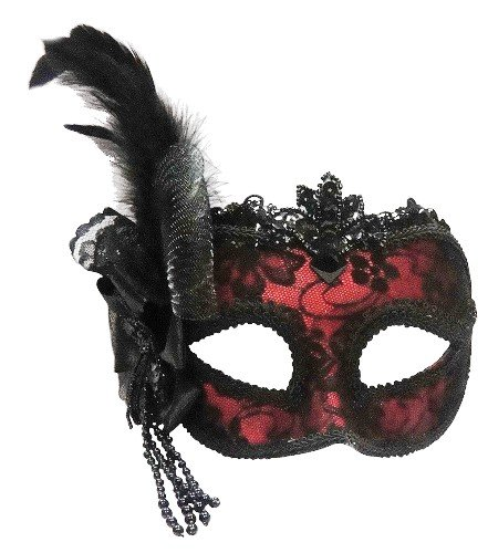 Venetian Side Feather Mask (Red Side Feather Masquerade Masked Ball Venetian Eye Mask)