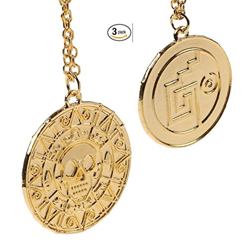 (3-Packs) Skull Gold Coin Medal Pirates of The Caribbean Necklace Jack Sparrow Necklace (3 Packs) by Unicorn (Pirates Trades)