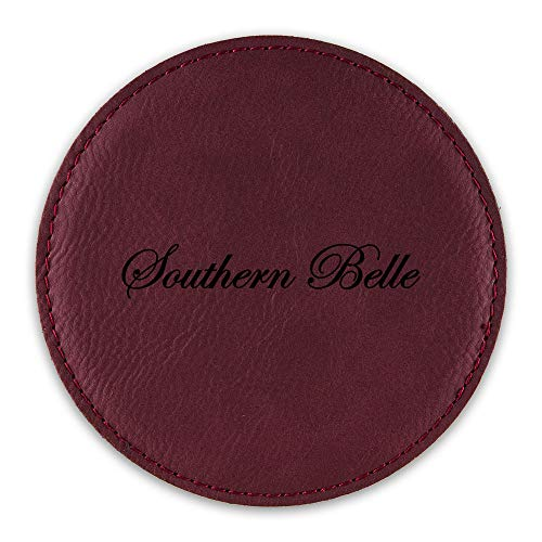 Southern Belle Drink Coaster Leatherette Round Coasters cowgirl country - Rose - Set of Six Round -