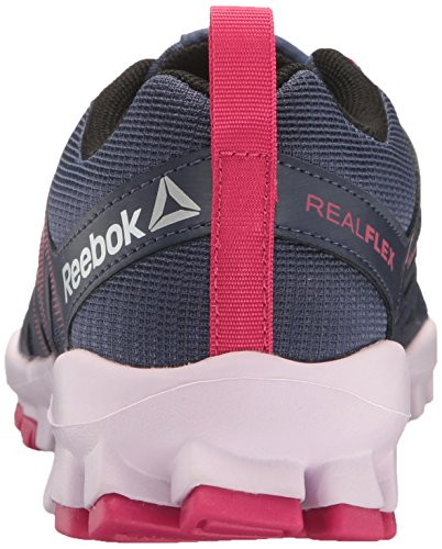 Reebok Womens Realflex Treno 4.0 Scarpa Cross-trainer Blu Inchiostro / Mania Rosa / Nero / Lucido Lilla / Argento