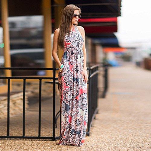 eb900bb05284 ... BURFLY Kleid Sommerkleid, Damen Elegant Ärmel Maxikleid mit Blumenmuster  Sommer Kleid Strandkleid Abendkleid Lang Kleid ...