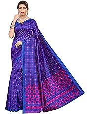 زي ساري للحفلات الهندي الأزرق من CRAFTSTRIBE Art Silk Checks
