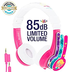 BuddyPhones Explore | Kids Headphones | Foldable, Durable, Comfortable | Kids Safe Volume Limiting Headphones with Audio Splitter & Mic | Pink