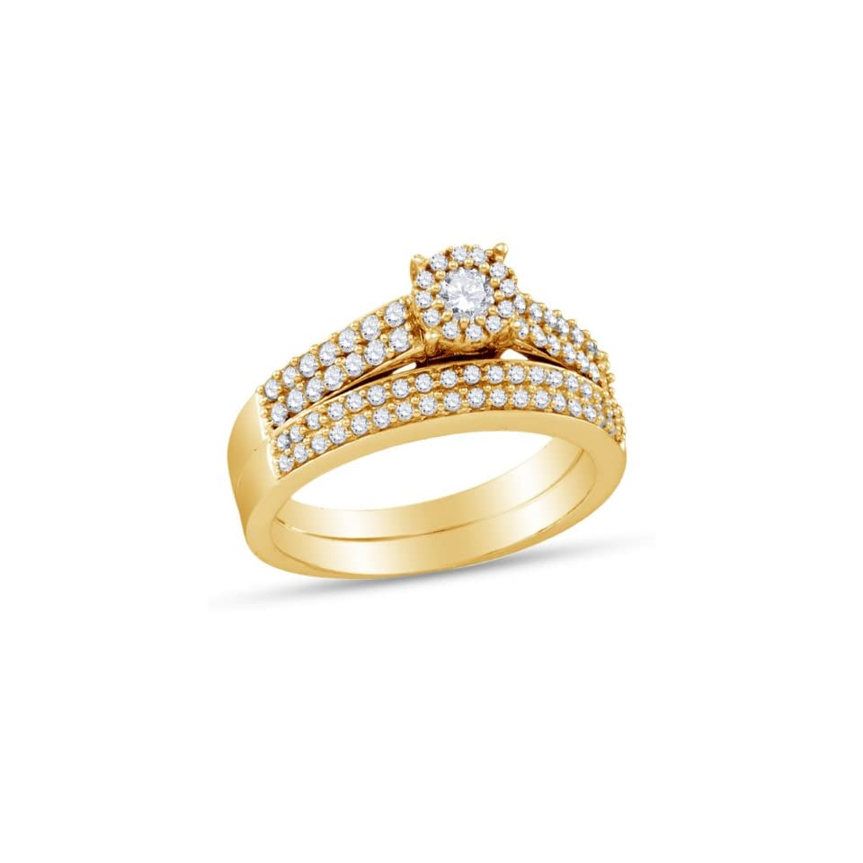 14K Yellow Gold Round Cut Diamond Bridal Engagement Ring and Matching Wedding Band Two 2 Ring Set   Halo Prong Set Center with Channel Set Side Stones   Classic Traditional Solitaire Shape Center Setting   (2/3 cttw.)
