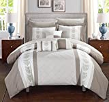 Chic Home Clayton 8 Piece Comforter Set Pintuck Pieced Block Embroidery Bed in a Bag with Sheet Set, Twin Beige