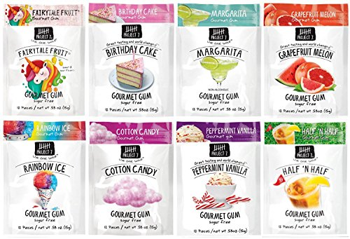 Project 7 Gourmet Gum Sugar Free Dessert - Fairytale Fruit, Birthday Cake, Margarita, Grapefruit Melon, Raibow Ice, Cotton Candy, Peppermint Vanilla, Half 'N Half.53 Ounce, Pack of - Cake Project Birthday 7