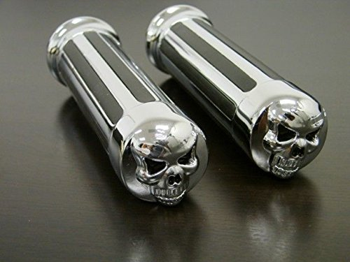 Jambo 2 pcs Chopper Cruiser Custom Chrome Billet Aluminum Skull Hand Grips Universal Fit Motorcycle 1