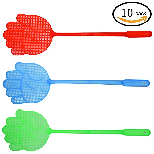 Richohome Fly Swatter Manual Swat Pest Control sweet with Long Handle- Colorful Pack of 10