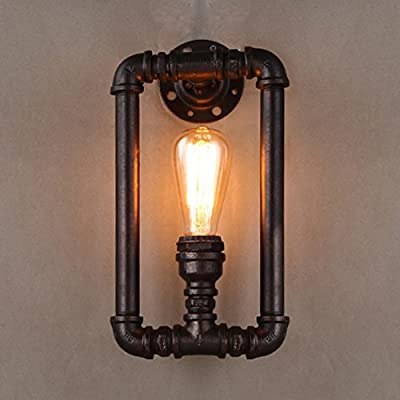 BAYCHEER HL409243 Industrial Retro Steel Pipe Water Pipe Wall Lamp Wall Sconce Loft Lamp with 1 light