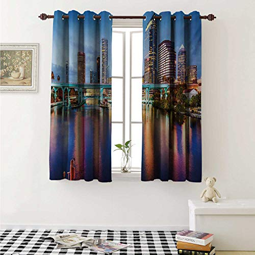 shenglv City Waterproof Window Curtain Hillsborough River Tampa Florida USA Downtown Idyllic Evening at Business District Curtains for Party Decoration W84 x L72 Inch Multicolor -