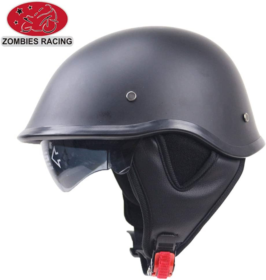 Moto Helmets-Braincap Wehrmacht Stahl Halbschalen Motorrad Vespa Scooter Jet Bobber Helm Pilot Cruiser Vintage Moped Chopper Helm Biker Retro DOT Zertifiziert,L59~60cm