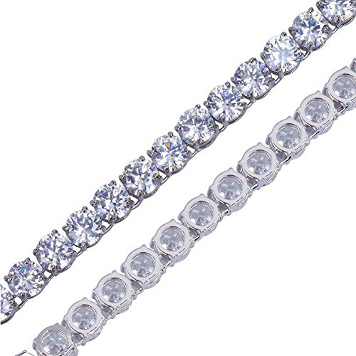 JINAO 18k Gold Plated 1 Row 6MM Lab Simulated Diamond Iced Out Chain Men's Hiphop Tennis Necklace (White, -