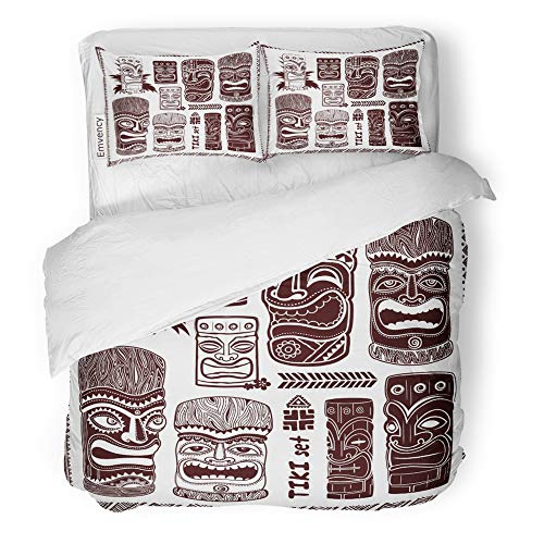 Emvency Decor Duvet Cover Set King Size Mask Vintage Aloha Tiki Hawaii Tropical Bar Sign Sketch Summer Tattoo 3 Piece Brushed Microfiber Fabric Print Bedding Set Cover ()