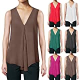 Women's Sleeveless Draped Vest Asymmetric Hem