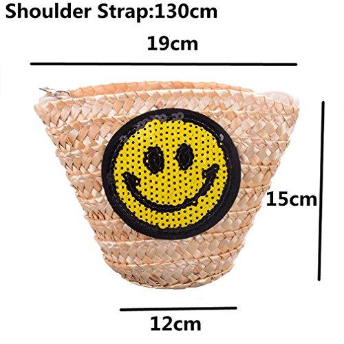 Bucket Flower Kids Weave Lace Sequined Amuele Crossbody Straw For Straw Zipper wvqwxU4aI