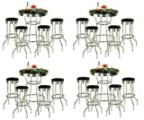 4-Sets-of-5-Piece-Retro-Black-Bistro-Table-Pub-Set-with-4-Barstools