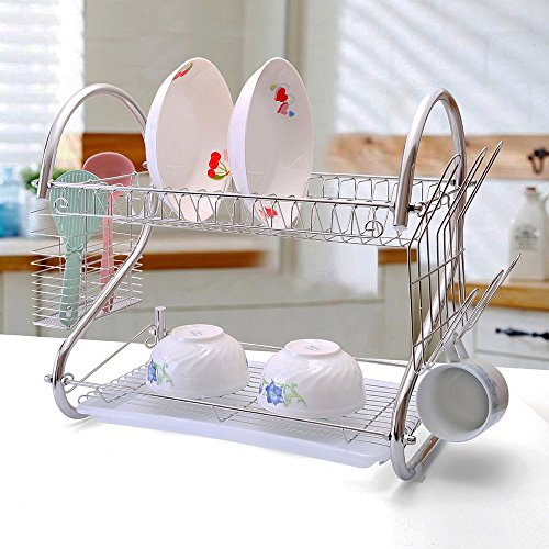 2-Tiers Rustproof Stainless Steel Dish Drying Rack,S-Shaped Kitchen Plate Cultery Cup Utensil Organizer Holder With Drip Tray-Large Capacity