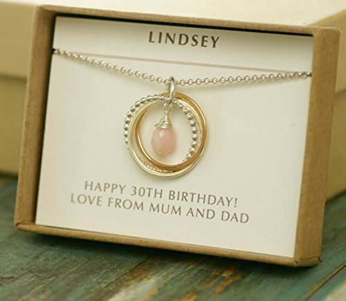 30th Birthday Gift For Her Sister Jewelry 3 Best Friends Interlocking Rings Necklace Opal October Birthstone Amazoncouk