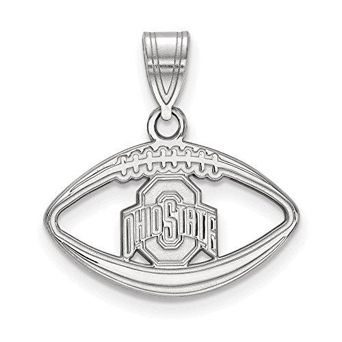 925 Sterling Silver Rhodium-plated Laser-cut Ohio State University Football Pendant ()