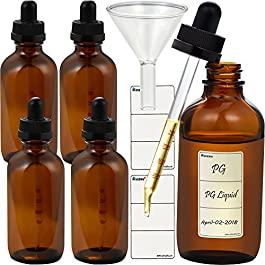 5pcs 120ml Glass dropper eliquid bottle Dropper with measure scale and strong suction Nozzle bottle with funnel and tags (Brown Glass, 120ml x 5pcs)