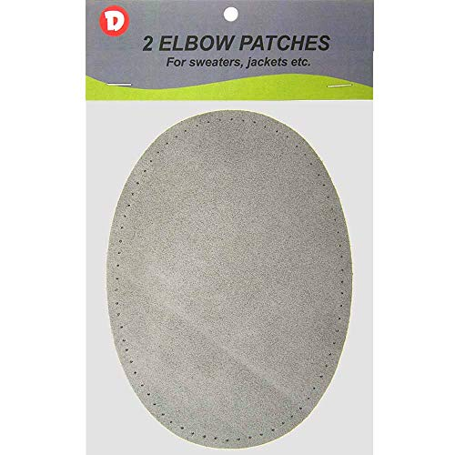 (2 Large Sew-On Natural Suede Elbow Patches 4.75 in x 6.5 in - Grey)