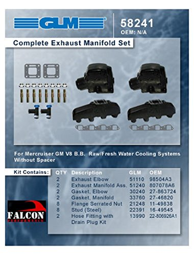 Mercruiser Marine 330 340 MIE Chevy 454 7.4 7.4L GLM Exhaust Manifolds+3